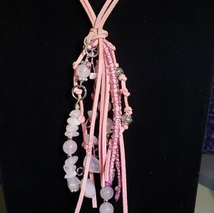 """One of a Kind! Pink Leather 24"""" Tassle Necklace"""